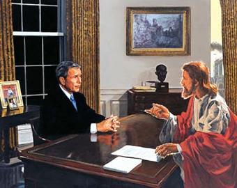 福田美蘭 「ブッシュ大統領に話しかけるキリスト」の画像