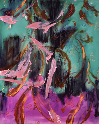 中村一美 「死を悼みて濡れた紫の水瀬に立つ者 V」の画像